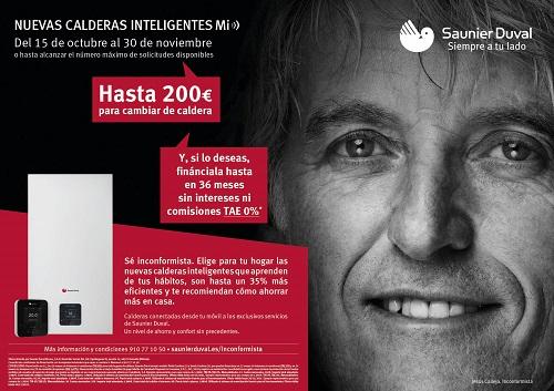 Nueva promoción de calderas de Saunier Duval Hasta 200 € para cambiar de caldera y financiación hasta en 36 meses sin intereses ni comisiones